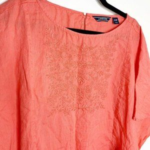 Lands' End Tops - Lands' End 26W Sleeveless Top Linen Blouse Coral